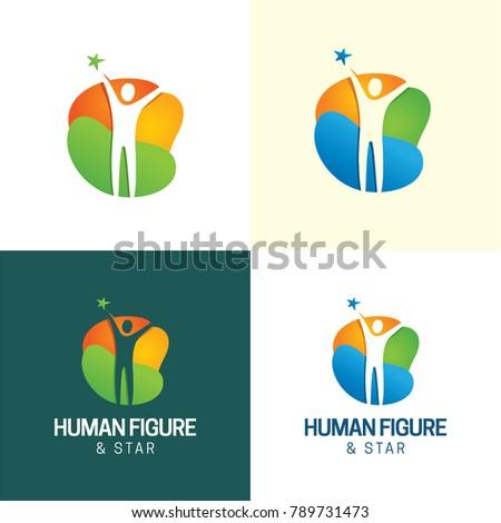human figure   star logo