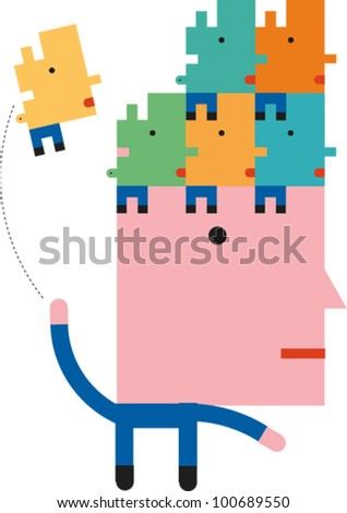 Human figure with large head tosses smaller figures with puzzle piece heads onto the top of his head