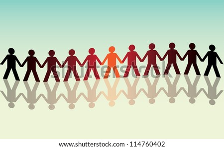 human figures in a waved row - illustration