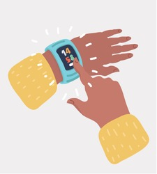 Human finger is tapping on the icon of clock on the smart watch. Person watching precise time on the hand clock. Vector cartoon illustration in modern concept