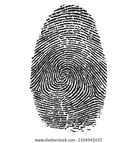 human fingerprint criminal style black and white minimal modern individual vector logo illustration isolated on white background, concept of press for personal biorhythm tracking and touchscreen id
