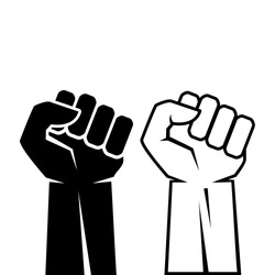 Human fist hand icon set vector illustration on white background. Protest struggle concept outline icon.