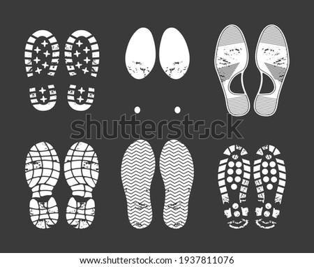 Human footprint. Footwear steps silhouette, shoes, boots, sneakers footstep print of men and women, textured steps. Dirty shoes print, shoes footprints on asphalt and ground, step silhouette vector. Photo stock ©