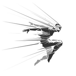 Human geometric silhouette with motion effect