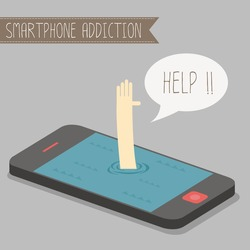 human get drowned in concept smartphone addiction