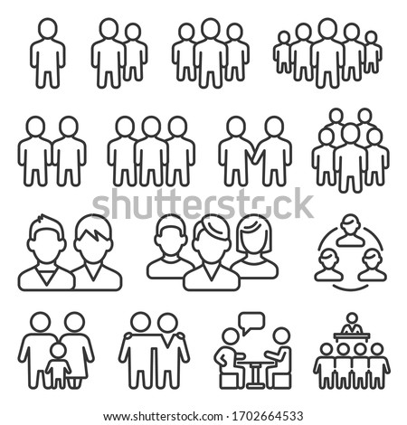 Human Group Icons Set on White Background. Line Style Vector