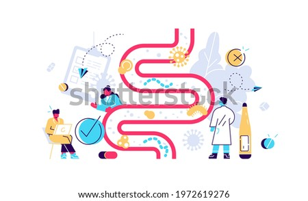 Human gut flora. Digestive stomach organisms for healthy life. Immunity and indigestion health. Vector intestinal microbiota, bifidobacterium colony and microflora bacteria flat illustration Stock fotó ©