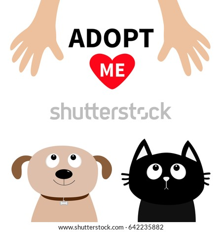 Human hand. Adopt me. Dont buy. Dog Cat Pet adoption. Puppy pooch kitty cat looking up to red heart. Flat design. Help homeless animal concept. White background. Isolated. Vector illustration