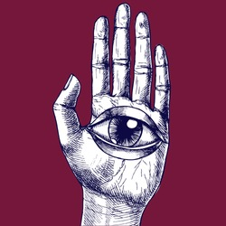 Human hand and all-seeing eye. Hand-drawn vector surreal illustration for your magic design.