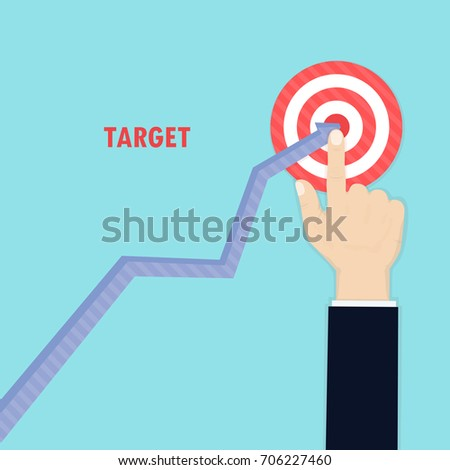 Human hand and growth graph icon on background.Goal achievement.Successful way up to goal.Ambition business.Path chart to target.Businessman to top graph.Aspiration to victory.Vector illustration