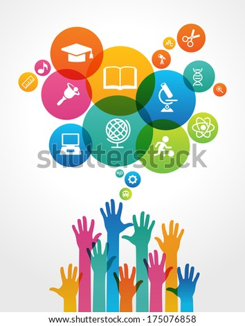 Human hand and icons of education. Concept of education. File is saved in AI10 EPS version. This illustration contains a transparency