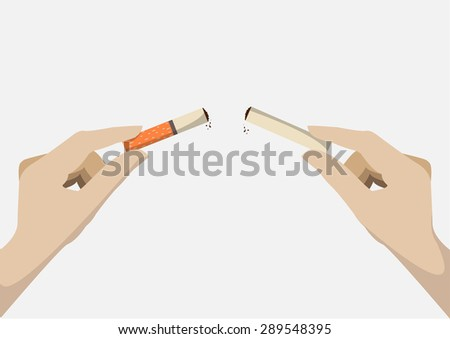 human hand breaking cigarette