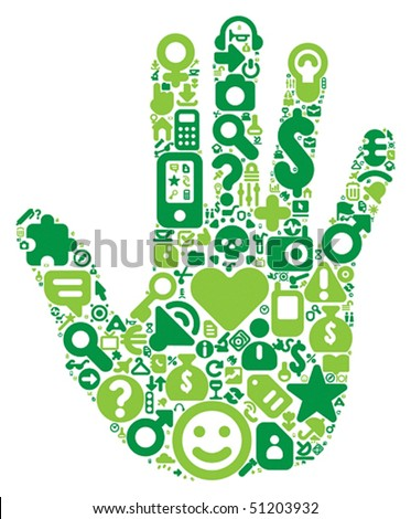 Human hand concept. Made of 100 vector icons set in green colors.