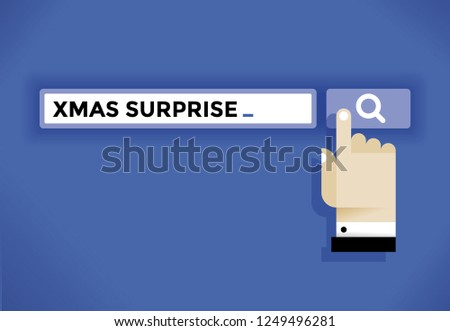 Human hand cursor icon finding a Xmas surprise in internet. Idea - New Year Eve and Christmas holidays, online shopping, choosing gifts and presents, consumerism etc.