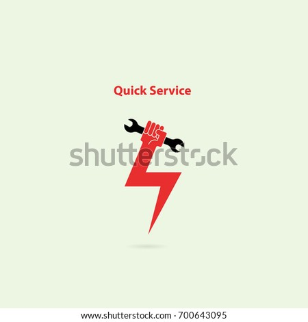 Human hand flash icon and wrench vector logo design template.Service tool icon.Quick fast flash repair sign.Quick Repairing concept.Maintenance and technical support concept.Vector illustration.