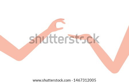 Human hand gives and takes. Share, offer, provide, demonstrate and be interested, curiosity, pick, appropriate, take. Isolated on white background. Vector illustration