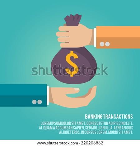 human hand gives money bag to