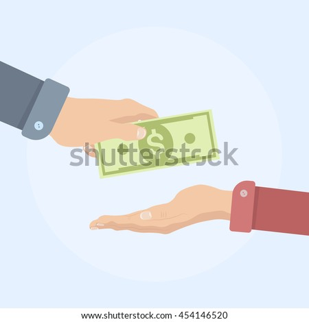 Human hand gives money, dollar to another person. Businessman buy for currency. Flat vector icon