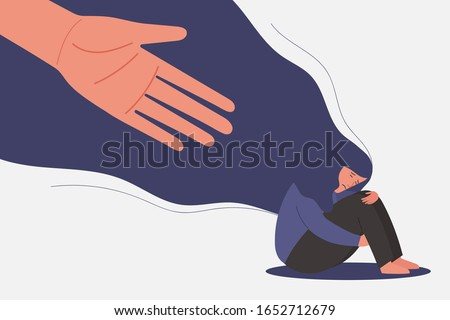 human hand helps unhappy and sad young girl in depression sitting, lonely woman hugging knees with flying hair, sorrow, mental health concept, cartoon female character flat vector illustration