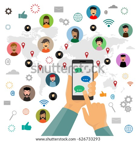 Human hand hold a smart phone and sending messages to friends via messenger app. social concept vector illustration.
