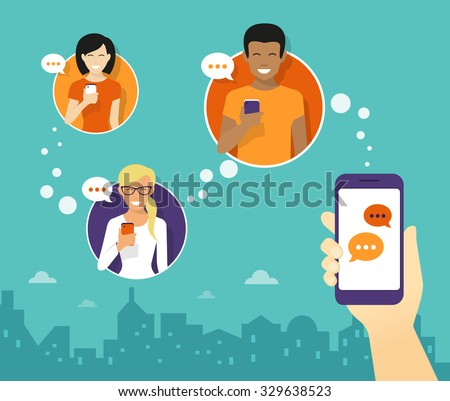 Human hand hold a smartphone and sending messages to friends via messenger app. Chat flat illustration