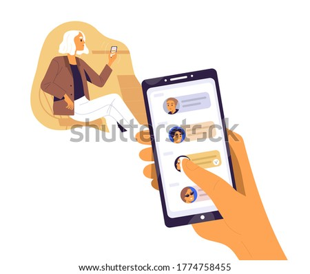 Human hand hold smartphone with contacts or requests on screen vector flat illustration. Woman surfing internet use mobile isolated on white. Forwards messages, sharing news or refer friends online