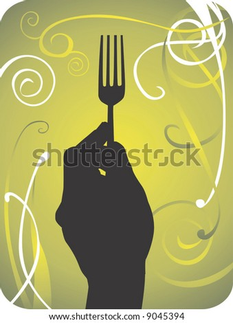 human hand holding a fork in floral background