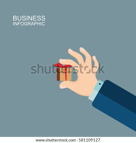 Human hand holding a small gift. Illustration in a flat design style. business finance concept for presentations, brochures, website, etc. #581109127