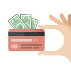 Human hand holding credit card and money - dollars. Idea - Mobile payment, Online shopping and banking, Savings and pension.