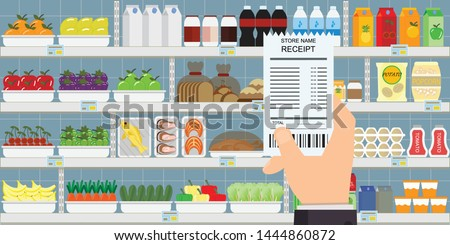 Human hand holding grocery shopping receipt on supermarket interior with products on background, Vector illustration.