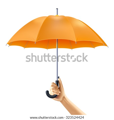 Human hand holding open yellow umbrella realistic vector illustration