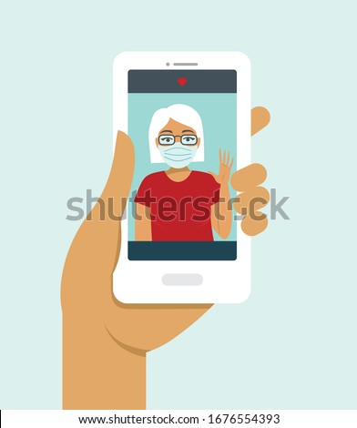 Human hand holding smart phone video call on the screen with elderly family member, mother, granny, online during COVID-19 disease outbreak. quarantine concept. Flat vector illustration