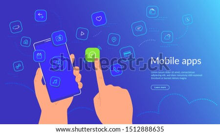 Human hand holding smartphone and choosing a mobile app icon for chatting and texting messages. Gradient line vector illustration of user interface, user experience and various mobile apps usage
