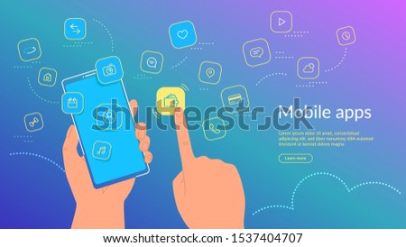 Human hand holding smartphone and choosing a mobile app icon for e-wallet and online banking. Gradient line vector illustration of user interface, user experience and various mobile apps usage