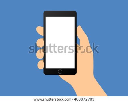 Human hand holding smartphone / smart mobile phone flat vector illustration