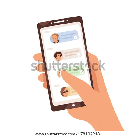 Human hand holding smartphone with dialogue app on screen vector flat illustration. Person chatting, sharing news and refer friends online isolated on white. Forward messages or information