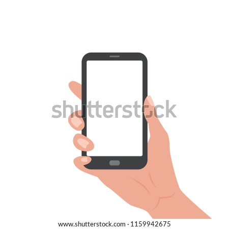 Human hand holding Smartphone with empty screen. Vector colorful illustration in cartoon flat style design template for web, advertising, promotions.    #1159942675