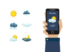 Human Hand Holding Smartphone with Weather Forecast Application, Sun, Clouds, Thunderstorm, Night and Day Design Elements Vector Illustration