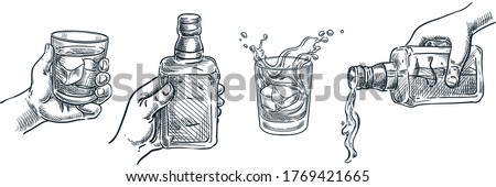 Human hand holding whiskey or liquor glass. Scotch whisky or brandy pouring out of bottle. Vector hand drawn sketch illustration. Alcohol drinks isolated on white background. Bar menu design elements