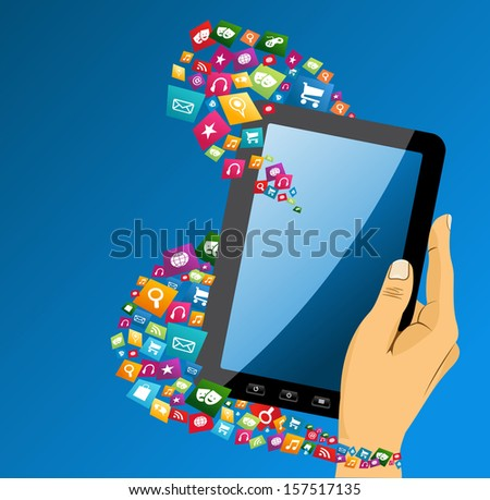 Human hand holds electronic tablet computer applications icons composition, blue background. EPS10 vector file organized in layers for easy editing.