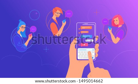 Human hand holds smart phone with messenger app and keyboard on screen. Gradient vector illustration of people using mobile smartphone texting group messages via messenger app