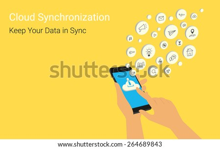 Human hand holds smartphone with mobile apps on yellow background