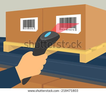 human hand is scanning a box