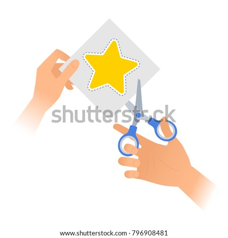Human hand is using a pair of scissors to cut out a star from paper. Flat vector illustration of yellow star shape with dotted line on a piece of sheet and steel office shears with plastic handles.