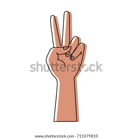 human hand peace and love gesturing icon