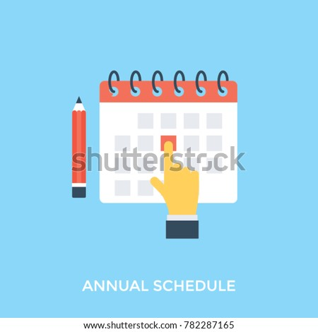 Human hand pointing toward office calendar date with pencil in flat design icon