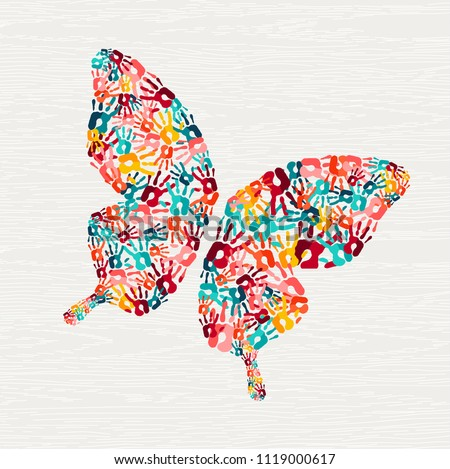 Human hand print butterfly shape concept. Colorful paint handprint background for diverse community or social project. EPS10 vector.