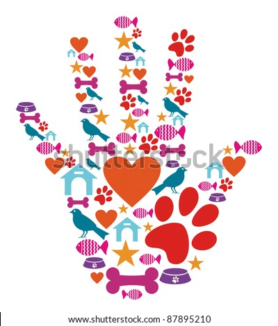 Human hand shape with animal pet protection icons set.