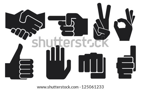 human hand sign collection (hand gesture silhouettes, finger pointing symbol, hand showing thumbs up, like symbol, human okay hand sign, fist symbol, the victory symbol, human hand giving ok)