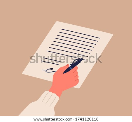 Human hand signing notary document holding pen vector flat illustration. Cartoon person arm confirm official paper page writing signature isolated. Verification of agreement sheet